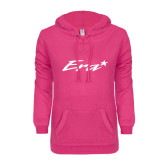 ENZA Ladies Hot Pink V Notch Raw Edge Fleece Hoodie-Era