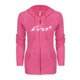 ENZA Ladies Hot Pink Light Weight Fleece Full Zip Hoodie-Era