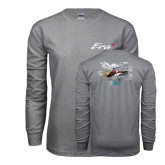Grey Long Sleeve T Shirt-A-Star AS 350 Alaska Flight Seeing Glaciers with Alaska
