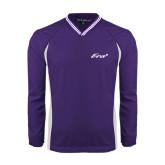 Colorblock V Neck Purple/White Raglan Windshirt-Era