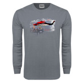 Charcoal Long Sleeve T Shirt-Sikorsky S76 Passing Rig in Gulf of Mexico