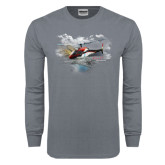Charcoal Long Sleeve T Shirt-A-Star AS 350 Alaska Flight Seeing Glaciers