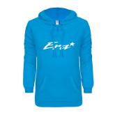ENZA Ladies Pacific Blue V Notch Raw Edge Fleece Hoodie-Era
