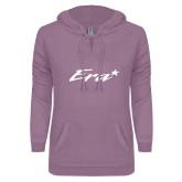 ENZA Ladies Hot Violet V Notch Raw Edge Fleece Hoodie-Era