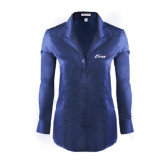 Ladies Red House Deep Blue Herringbone Non Iron Long Sleeve Shirt-Era