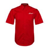Red Twill Button Down Short Sleeve-Era