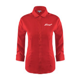 Ladies Red House Red 3/4 Sleeve Shirt-Era