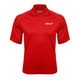 Red Textured Saddle Shoulder Polo-Era