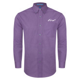 Mens Deep Purple Crosshatch Poplin Long Sleeve Shirt-Era