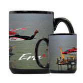 Full Color Black Mug 15oz-Sikorsky S76 Passing Rig in Gulf of Mexico