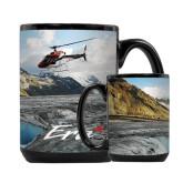 Full Color Black Mug 15oz-A-Star AS 350 Alaska Flight Seeing Glaciers