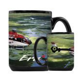 Full Color Black Mug 15oz-Eurocopter EC 135 Over Louisiana Marshlands