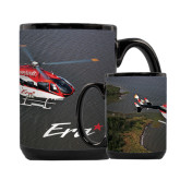 Full Color Black Mug 15oz-Eurocopter EC 145 Over Louisiana Marshlands