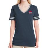 Ladies Navy Heather/Grey Tri Blend Varsity Tee-ERA