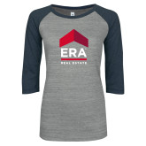 ENZA Ladies Athletic Heather/Navy Vintage Baseball Tee-ERA