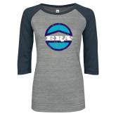 ENZA Ladies Athletic Heather/Navy Vintage Baseball Tee-Vintage ERA Logo