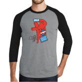 Grey/Black Tri Blend Baseball Raglan-Vintage ERA Muscle Sold Sign