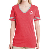 Ladies Red Heather/Grey Tri Blend Varsity Tee-ERA