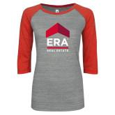 ENZA Ladies Athletic Heather/Red Vintage Baseball Tee-ERA