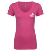 Next Level Ladies Junior Fit Ideal V Pink Tee-ERA