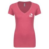 Next Level Ladies Vintage Pink Tri Blend V Neck Tee-ERA