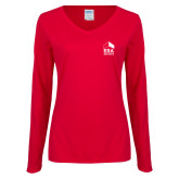 Ladies Red Long Sleeve V Neck Tee-ERA
