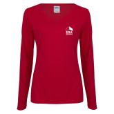 Ladies Cardinal Long Sleeve V Neck Tee-ERA