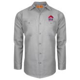 Red Kap Light Grey Long Sleeve Industrial Work Shirt-ERA