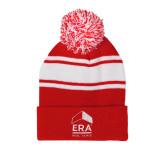Red/White Two Tone Knit Pom Beanie w/Cuff-ERA
