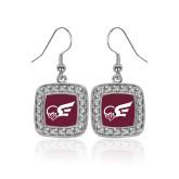 Crystal Studded Square Pendant Silver Dangle Earrings-Flying Fleet Mascot