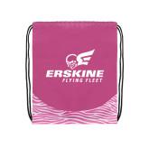Nylon Zebra Pink/White Patterned Drawstring Backpack-Erskine Flying Fleet Stacked