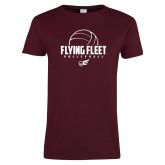 Ladies Maroon T Shirt-Flying FleVolleyball