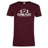 Ladies Maroon T Shirt-Flying Fleet Football
