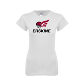 Next Level Ladies SoftStyle Junior Fitted White Tee-Erskine w/Flying Head