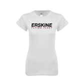 Next Level Ladies SoftStyle Junior Fitted White Tee-Erskine Flying Fleet Wordmark