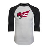 White/Black Raglan Baseball T-Shirt-Flying Fleet Head