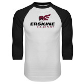 White/Black Raglan Baseball T Shirt-Erskine Flying Fleet Stacked