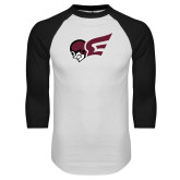 White/Black Raglan Baseball T Shirt-Flying Fleet Mascot