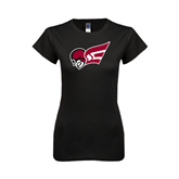 Next Level Ladies SoftStyle Junior Fitted Black Tee-Flying Fleet Head