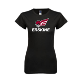 Next Level Ladies SoftStyle Junior Fitted Black Tee-Erskine w/Flying Head