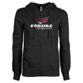 ENZA Ladies Black Fleece Full Zip Hoodie-Erskine Flying Fleet Stacked