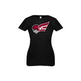 Youth Girls Black Fashion Fit T Shirt-Flying Fleet Head