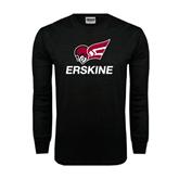 Black Long Sleeve TShirt-Erskine w/Flying Head