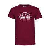 Youth Maroon T Shirt-Flying Fleet Football