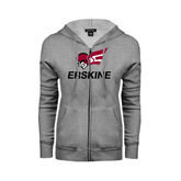 ENZA Ladies Grey Fleece Full Zip Hoodie-Erskine w/Flying Head