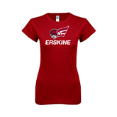 Next Level Ladies SoftStyle Junior Fitted Cardinal Tee-Erskine w/Flying Head