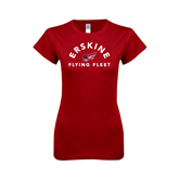 Next Level Ladies SoftStyle Junior Fitted Cardinal Tee-Arched Erskine Flying Fleet Head