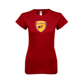 Next Level Ladies SoftStyle Junior Fitted Cardinal Tee-Soccer Shield