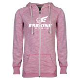 ENZA Ladies Hot Pink Marled Full Zip Hoodie-Erskine Flying Fleet Stacked