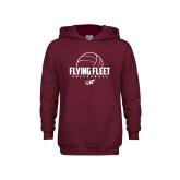 Youth Maroon Fleece Hoodie-Flying FleVolleyball